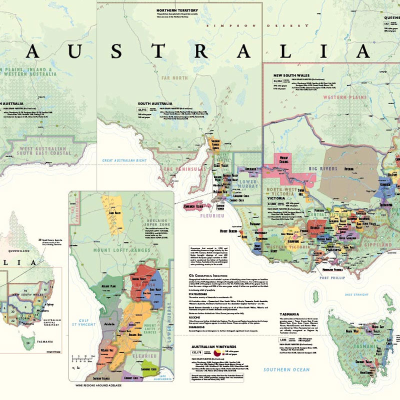 Show A Map Of Australia.De Long S Wine Map Of Australia Wine Regions