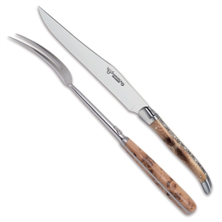 Laguiole en Aubrac 2 Piece Knife and Fork Carving Set - Juniper Wood Handles