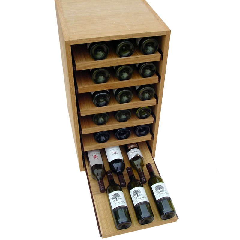 36 bottle showcase pull out wooden wine rack