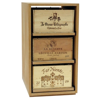 Showcase Wooden Wine Bottle Case Rack - 3 Drawer