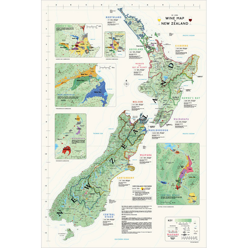 Map Of Uk With Regions.De Long S Wine Map Of New Zealand Wine Regions