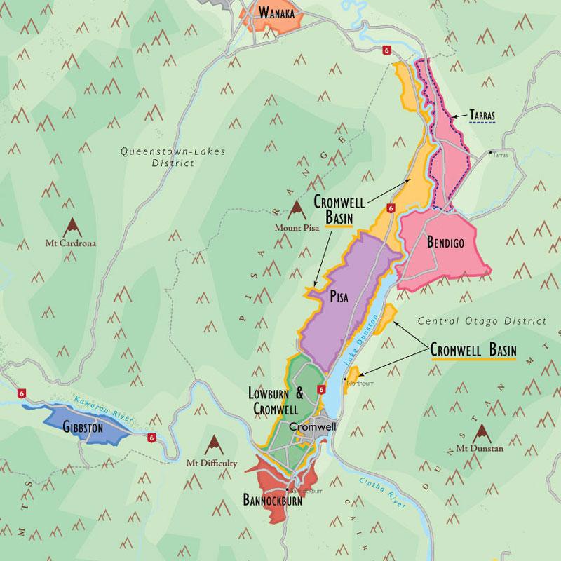 New Zealand Regions Map.De Long S Wine Map Of New Zealand Wine Regions
