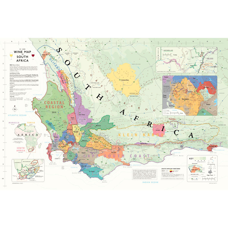 Map Of Africa Regions.De Long S Wine Map Of South Africa Wine Regions