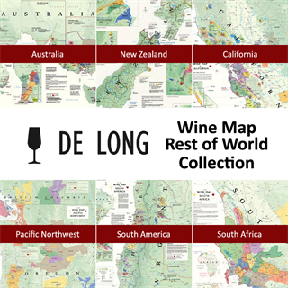 De Long's Wine Map Rest of World Collection - 6 Wine Region Maps