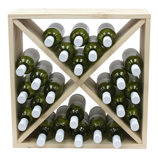 Pine Wooden Wine Rack - Cellar Cubes - 96 Bottles - 223mm Deep - Set of 4