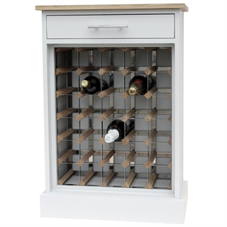 30 Bottle Grey Contemporary Wooden Wine Cabinet / Rack with Plinth