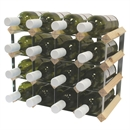 Fully Assembled Wooden Wine Rack - Natural Pine & Galvanised Steel 16 Bottle 4 x 3