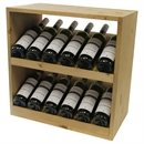 Pine Wooden Wine Rack - Display Cellar Cube - 12 Bottles - 298mm Deep