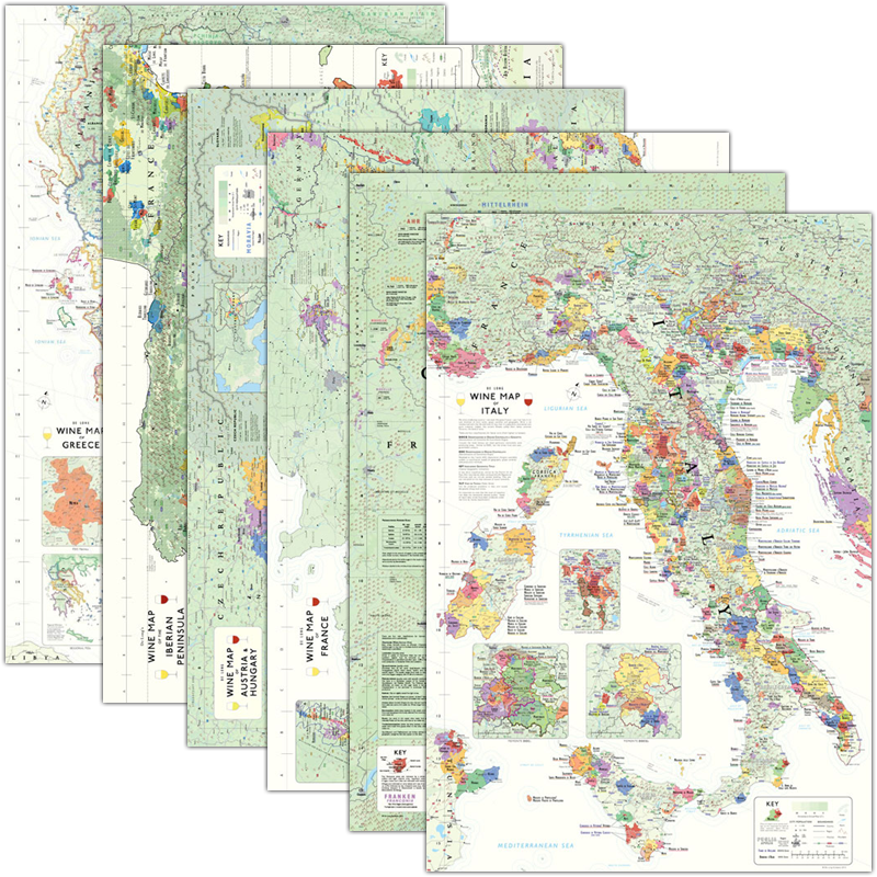 Wine Region Italy Map.De Long S Wine Map Europe Collection 6 Wine Region Maps Wine