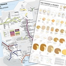 De Long's Metro Wine Map of France & Cheeses of France Chart