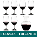 Riedel Ouverture Magnum Red Wine Glass Set of 6 + Apple NY Wine Decanter - 5408/35