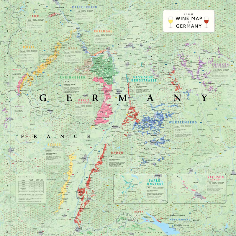 Regions Of Germany Map.De Long S Wine Map Of Germany Wine Regions