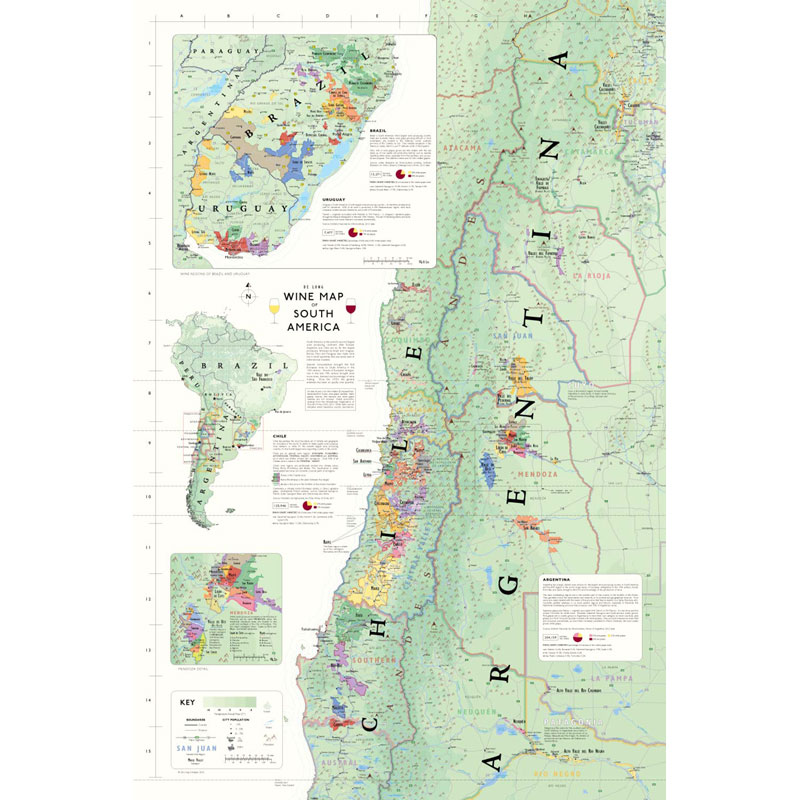 Show The Map Of America.De Long S Wine Map Of South America Wine Regions
