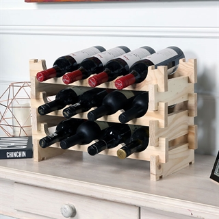 Vinrack Wooden Wine Rack 12 Bottle - Natural Pine 3H x 4W