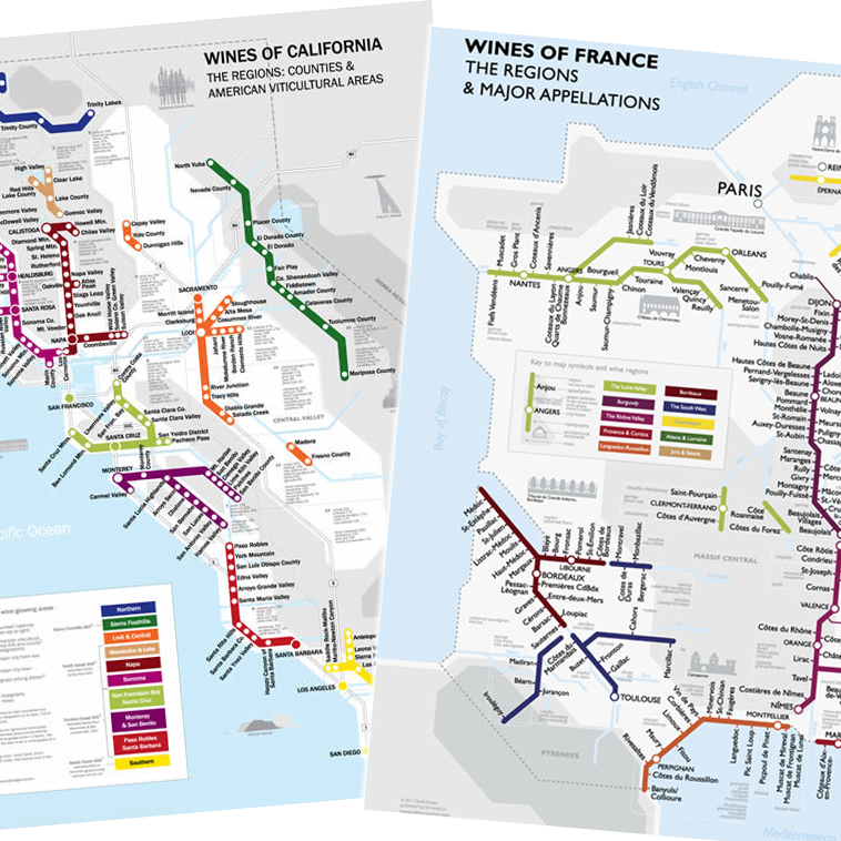 Wine Region Map Of France.De Long S Metro Wine Region Maps Of California France Duo Set