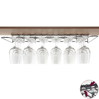 Chrome Plated Steel Wine Glass Hanging Rack - Dual Fix (Wall and Shelf)