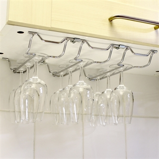 Chrome Plated Steel Wine Glass Hanging Rack - 3 Columns
