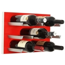 Vinowall 12 Bottle Wall Mounted Wine Rack - Red Panel Silver Frame