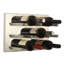 Vinowall 12 Bottle Wall Mounted Wine Rack - Brushed Aluminium Panel Silver Frame