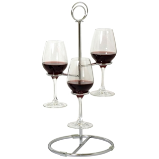 Wine Flight Tree - 3 Glass Wine Tasting Holder - Chrome