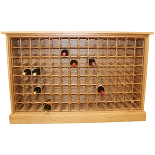 112 Bottle Contemporary Wooden Oak Wine Cabinet / Rack with Plinth