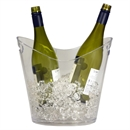 Plastic 2 Bottle Wine & Champagne Cooler / Ice Bucket - Clear