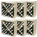 Pine Wooden Wine Rack - Cellar Cubes - 144 Bottles - 223mm Deep - Set of 6