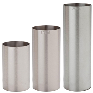 Professional Stainless Steel Thimble Bar Wine Measure Set - 1x 125ml 1x 175ml 1x 250ml