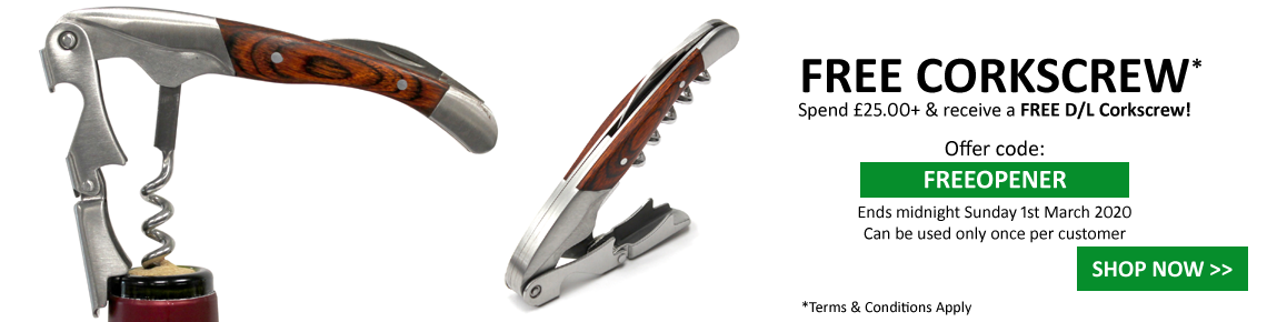 Spend £25+ & get a FREE D/Lever Corkscrew!