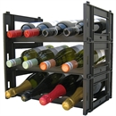 EziRak 12 Bottle Plastic Self Assembly Wine Rack - Black