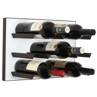 Vinowall 12 Bottle Wall Mounted Wine Rack - White Panel Black Frame