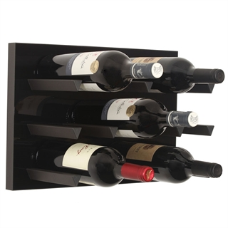 Vinowall 12 Bottle Wall Mounted Wine Rack - Black Panel Black Frame